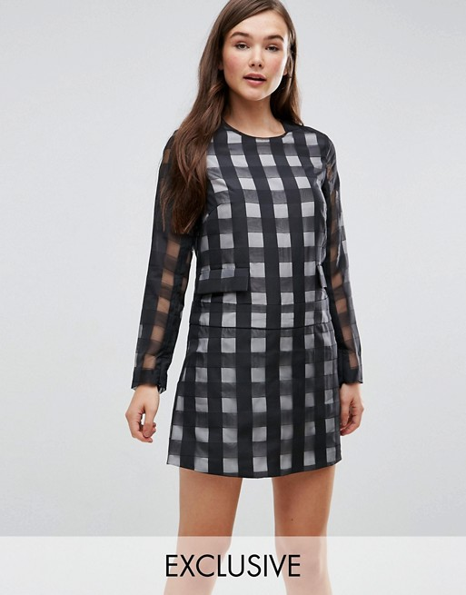 7b0ec60f7b Le Kilt for ASOS Long Sleeve Playsuit With Skirt Overlay