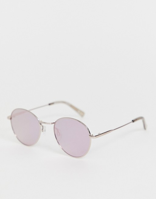 Le Specs Zephyr Deux round sunglasses in pink