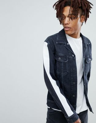 Image 1 of Lee slim rider denim jacket with side stripe arms
