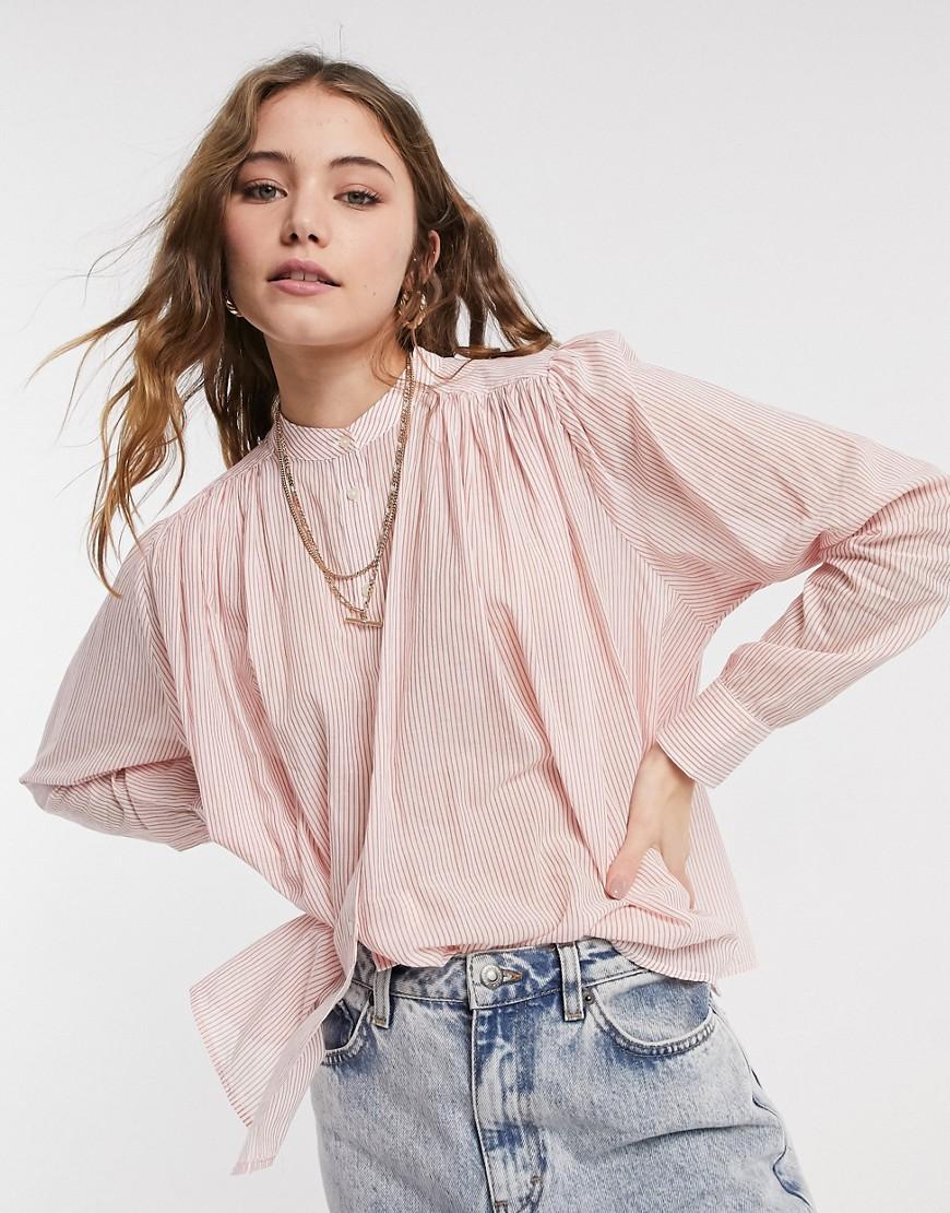 Легкая рубашка из хлопка со складками Maison Scotch-Розовый