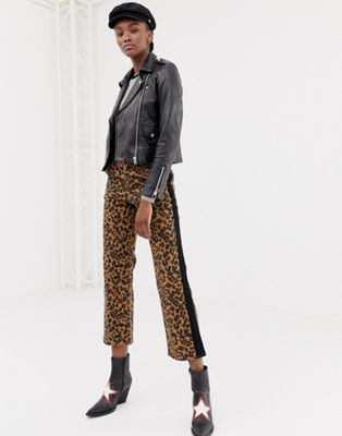 Leon & Harper leopard straight trousers with contrast stripe