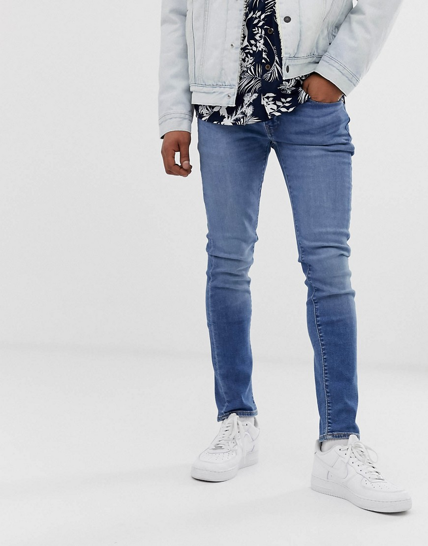 Levi's 519 Superskinny jeans met lage taille en wassing-Blauw