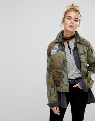 Image 1 of Levi's Camo Coach Jacket with Embroidery