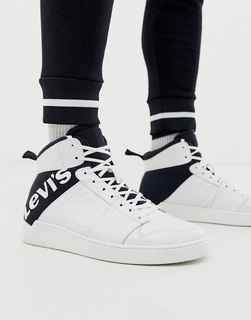 Levi's Mullet high top logo sneaker in white