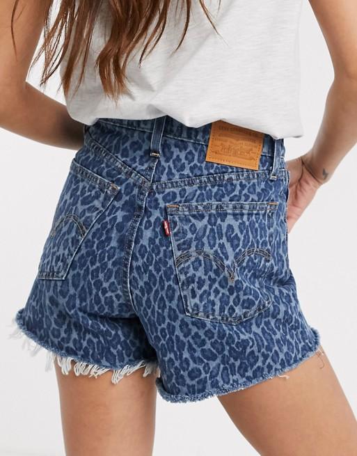 Levi's Ribcage Denim Shorts In Leopard Print