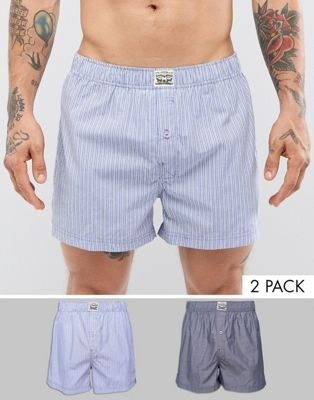Levis Woven Boxers 2 Pack in Blue Chambray Stripe