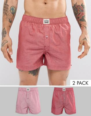 Levis Woven Boxers 2 Pack in Red Chambray Stripe