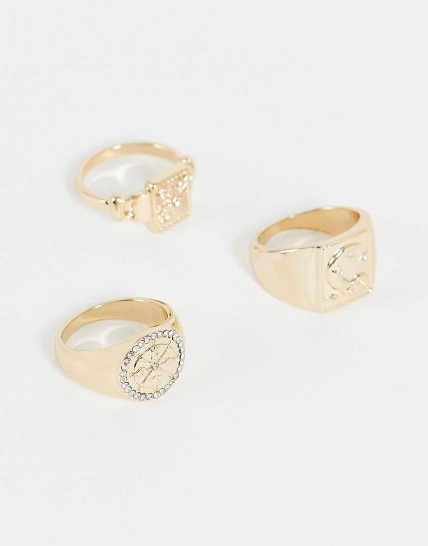 engraved sun and moon 3 x signet rings multipack in gold