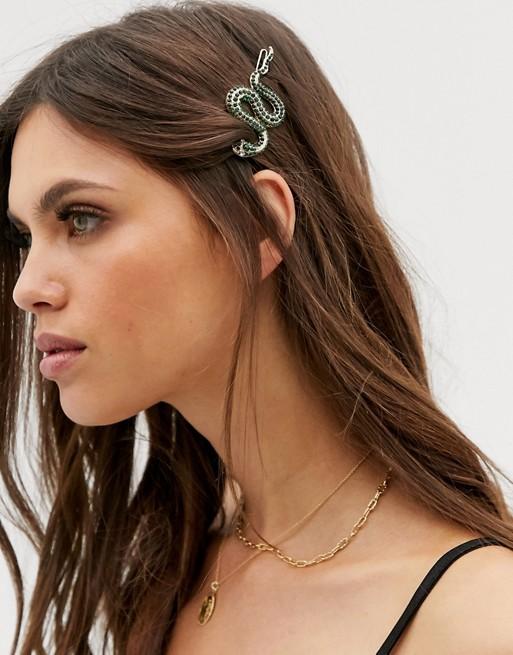 Liars & Lovers Halloween green crystal snake hair clip