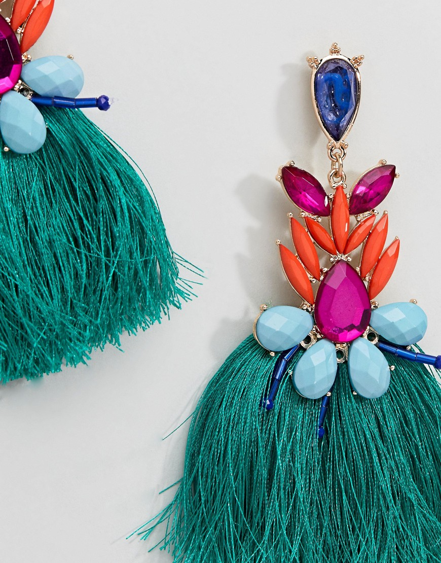 Liars & Lovers Multi Brights Tassel & Gem Statement Earrings by Liars & Lovers