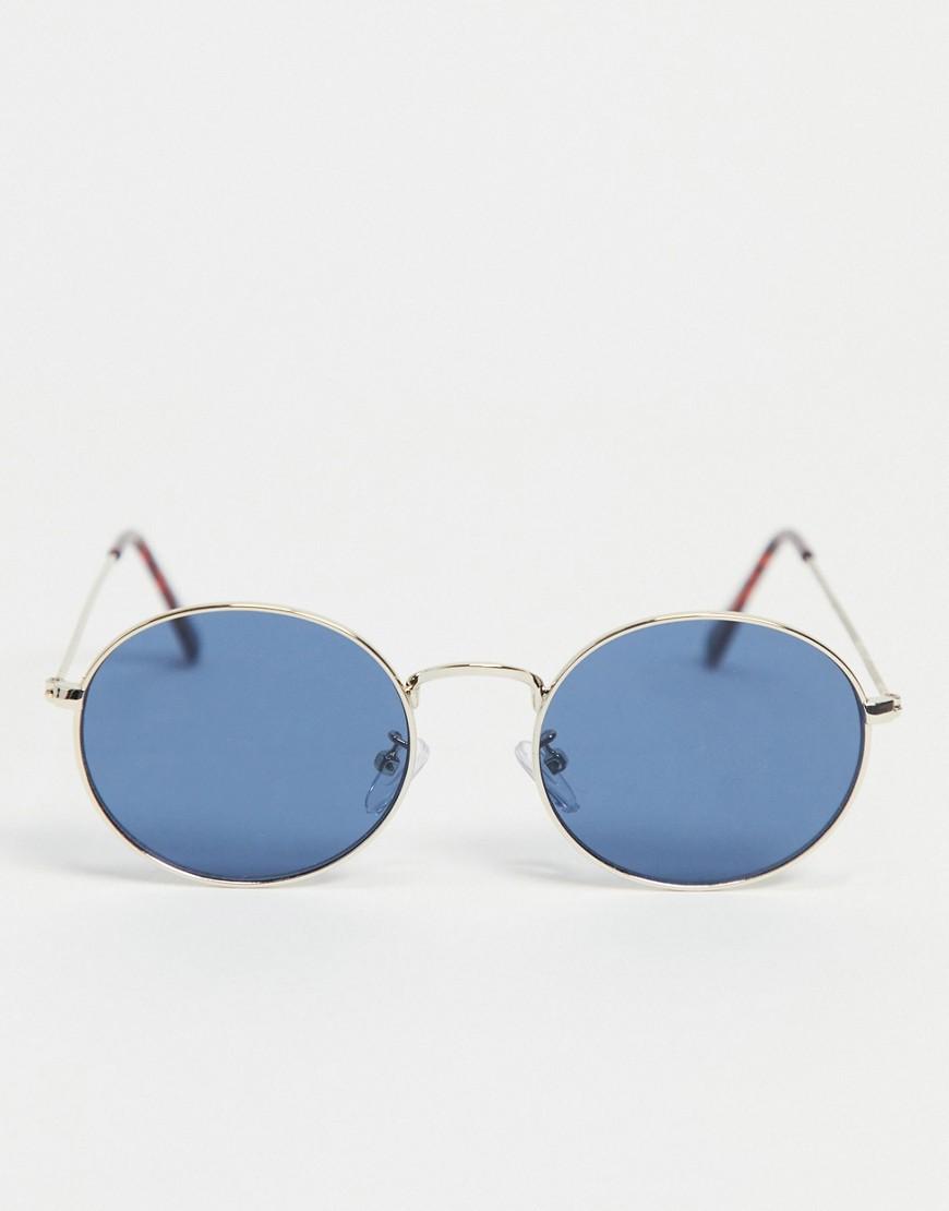 Liars & Lovers - Runde solbriller med blå linse-Guld