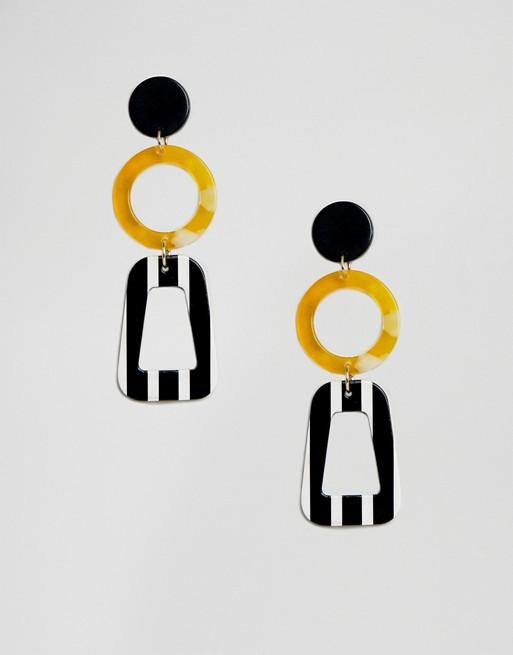 Image 1 of Liars & Lovers stripe resin drop earrings