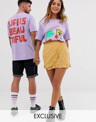 LIFE IS BEAUTIFUL unisex oversized printed t-shirt