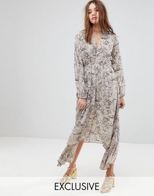 Lily and Lionel Exclusive Plunge Front Maxi Dress