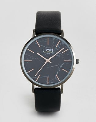 Image 1 of Limit Faux Leather Watch with Marble Face 38mm Exclusive to ASOS