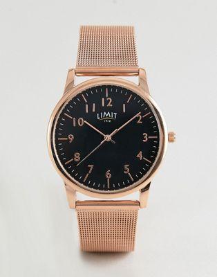 Limit - Horloge met mesh band in roségoud exlusief bij ASOS 38mm