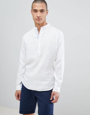 Lindbergh linen shirt with grandad collar in white