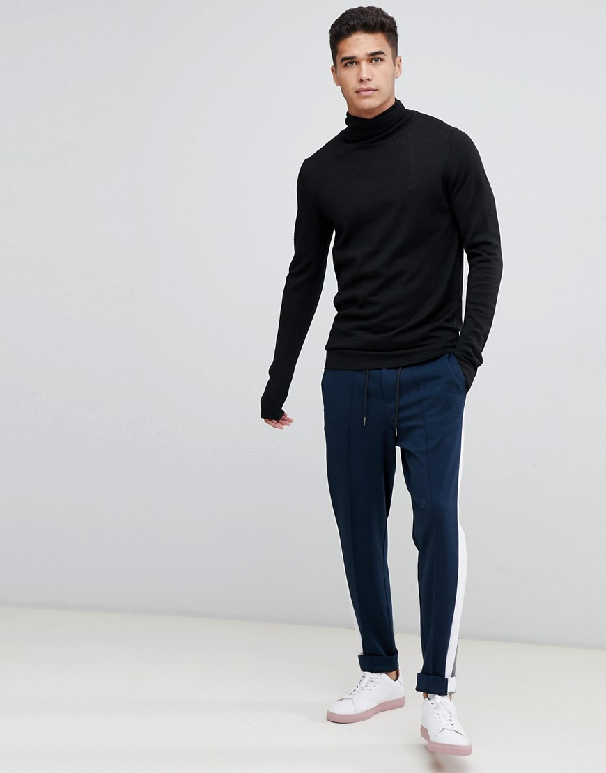 Lindbergh Merino Roll Neck Jumper In Black by Lindbergh