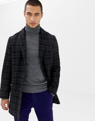 Lindbergh wool overcoat in grey check