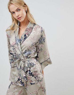 Lindex Ella M floral kimono pyjama top