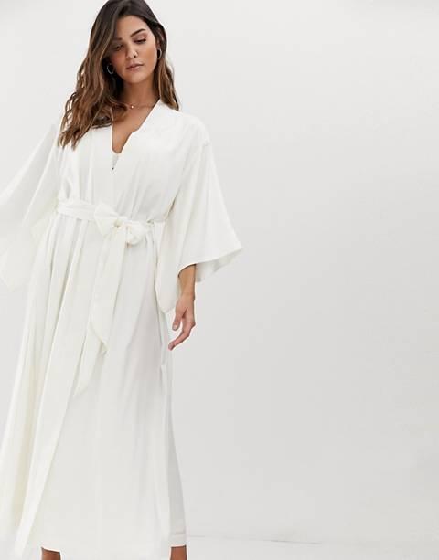 Lindex – Langer Braut-Kimono in Weiß mit Taillenband