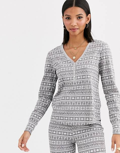 Lindex organic cotton fairisle pyjama top in grey