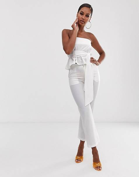Lioness Jetsetter tailored pants in white