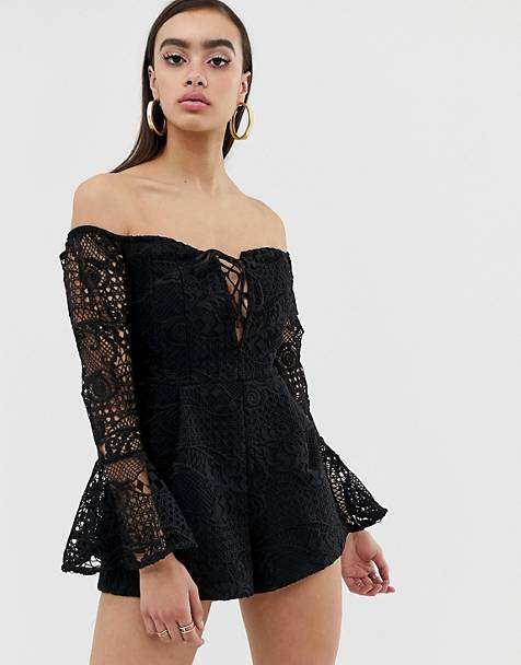 Lioness off shoulder lace romper with bell sleeve in black