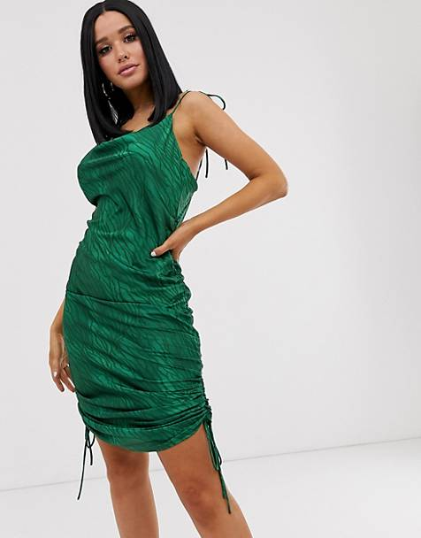 Lioness ruched halterneck mini dress in green zebra print