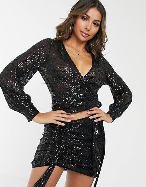 Lioness sequin wrap front crop top in black