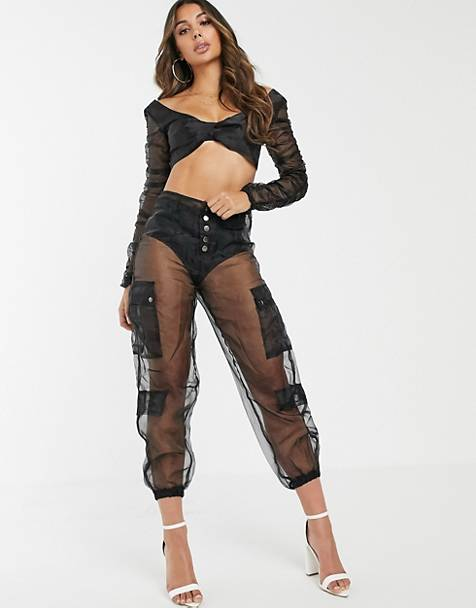 Lioness sheer organza cargo pants in black