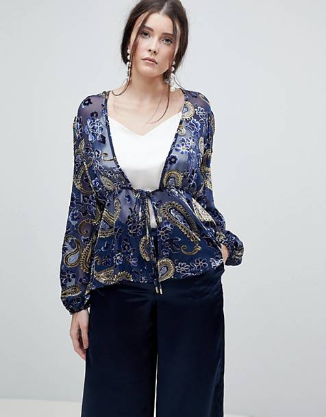 Lioness Summer Velvet Printed Sheer Wrap Front Top
