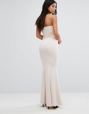 Image 1 of Lipsy Bandeau Maxi Dress with Sequin Lace and Gathered Waist
