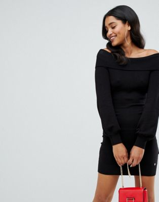 Lipsy bardot jumper dress in black