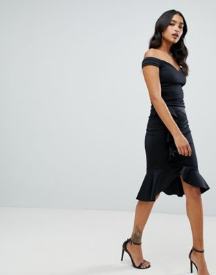 Lipsy bardot wrap dress with asymmetric hem in black