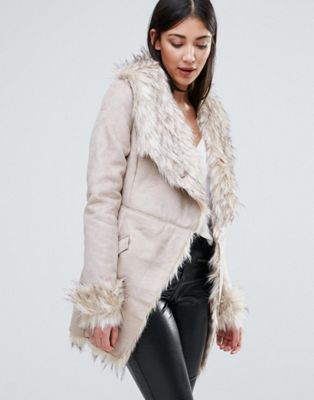 Lipsy Belted Coat With Faux Fur Collar