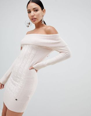 Lipsy Cable Knit Bardot Jumper Dress