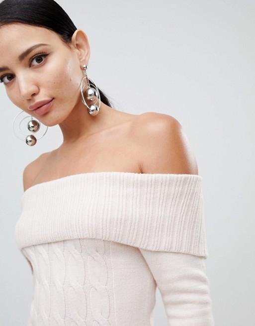 850543f2ab7 Lipsy Cable Knit Bardot Jumper Dress