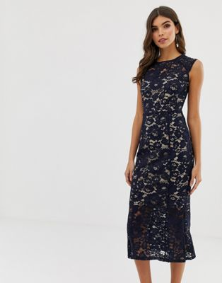 Lipsy cap sleeve lace midi dress