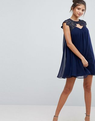 Lipsy Chiffon Shift Dress With Lace Upper