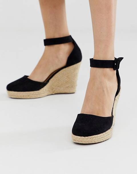 Lipsy closed toe espadrille wedge in black