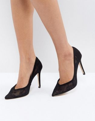 Lipsy Court Shoe In Delicate Lace