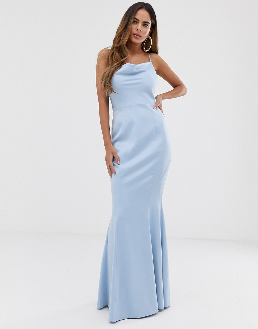 lipsy cowl neck maxi dress in blue