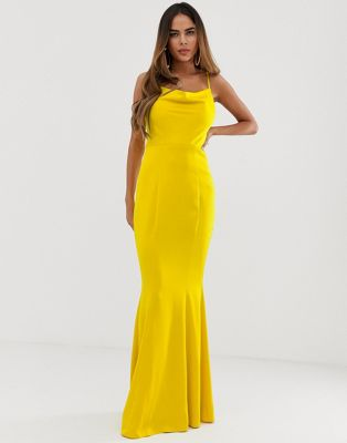 Lipsy cowl neck maxi dress in yellow