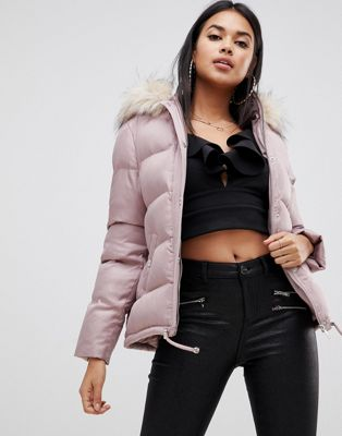 Lipsy cropped puffer jacket with hood and faux fur trim in nude