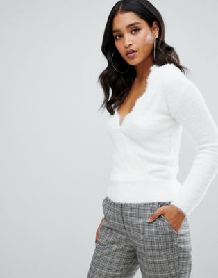 Lipsy cropped wrap jumper in white