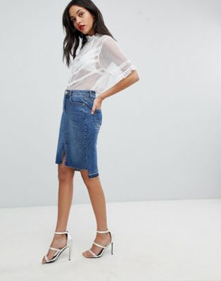 Lipsy Denim Pencil Skirt With Step Hem