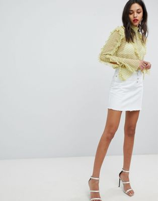 Lipsy Denim Skirt With Gold Detail