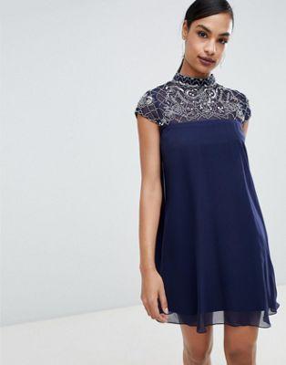 Lipsy embellished high neck swing dress