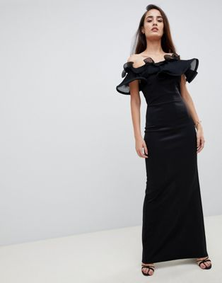 Lipsy exaggerated ruffle bardot maxi dress in black